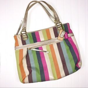 Coach Bags - Coach Poppy Legacy Stripe Glam tote and Wristlet